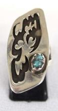 Vintage Native American Hopi Sterling Silver Turquoise Ring Size 7