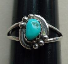 Native American Navajo Sterling Silver Turquoise Ring size 6.75 Sarah Chee