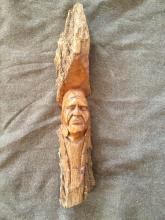 Hand Carved Native American Wooden Chief Sculpture Hand 21 inches Rustic Decor