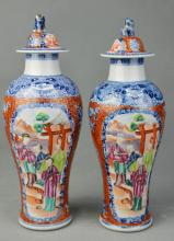 A Pair B & W with Famille Rose Hat-covered Jars, Qing Dynasty