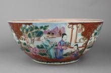 A Familla Rose Big Bowl in Story Pattern of Qing Dynasty