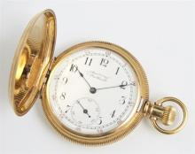 18K Yellow Gold Waltham Hunting Case Pocket Watch, ser # 7568804, case # 61386, both sides with engine turned engraved decoration, t...