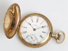 Lady's 14K Yellow Gold Waltham Hunting Case Pocket Watch, 1899, ser # 9168105, case # 133007, 15 jewels, the case with engraved bird..