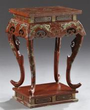 Chinese Export Qing Style Parcel Gilt Red Lacquered Side Table, 20th c., the top with dragon decoration, over an inset frieze to a p...