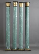 Set of Four Polychromed Faux Marble Parcel Gilt Lacquered Architectural Columns, the square tops over tapered columns to stepped cir...