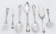 Group of Seven Sterling Serving Pieces, consisting of a pair of serving spoons, by Gorham, in the