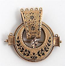 15K Yellow Gold and Enamel Brooch, c. 1910, of circular form, with a central articulated drop, presented in a period leatherette jew...