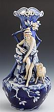 Large Royal Dux Porcelain Figural Vase, c. 1900, No. 768; with a classical maiden with a flute, and a sheep, on a cobalt ground, H.-...