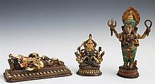 Group of Three Polychromed Indian Bronze Figures, 20th c., two of Ganesh and one of Shiva, Ganesh- H.- 9 in., W.- 5 5/8 in., D.- 2 3...