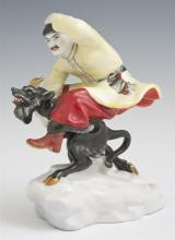 Russian Porcelain Figure, 19th c., of a peasant riding a devil, H.- 6 3/8 in., W.- 5 1/4 in., D.- 2 7/8 in.