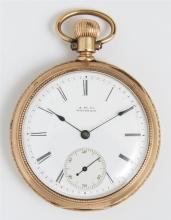 14K Yellow Gold Pocket Watch, by A.M. Watch Co., Waltham, Mass., case # 230917, movement # 5574307. Provenance: Peacock's Estate Jew..