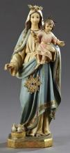 Spanish Carved and Polychromed Wood Figure, 20th c., of the Virgin and the child Jesus, on an integral octagonal base, H.- 17 in., W...