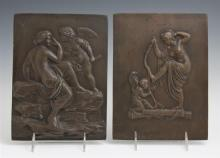 Pair of Patinated Spelter Relief Plaques, 19th c., of classical female figures and winged putti, H.- 9 1/2 in., W.- 7 in.