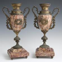 Pair of Bronze and Marble Urn Garnitures, 19th c., the highly figured tapered rouge marble urns with applied leaf handles and wreath...