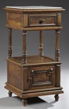 French Henri II Style Carved Walnut Marble Top Nightstand, 19th c., the inset highly figured white marble over a frieze drawer above...