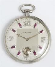 Waltham Platinum Maximus Pocket Watch, 1915, ser # 20165811, 21 jewels, with round diamond and baguette ruby chapter marks, stamped...