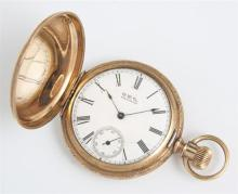 Waltham 14K Yellow Gold Hunting Case Pocket Watch, 1889, size 6s, 7 jewels, ser # 4047023, case # 228740, with engine turned decorat...
