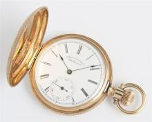 Waltham 14K Rose Gold Hunting Case Pocket Watch, 1891, ser # 5112603, case # 355196, size 6s, 7 jewels, with relief and engraved flo...