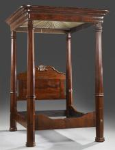 American Rococo Mahogany Full Tester Bed, mid 19th c., of the type crafted for the antebellum New Orleans market, the projecting cym...