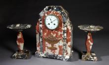 Three Piece Art Deco Breche d'Alpes Marble Clock Set, c. 1940, time and strike, the geometric clock by Lardot & Boyon, Paris, with a..