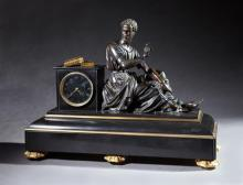 Impressive Bronze and Black Marble Figural Mantel Clock, 19th c., time and strike, with a large patinated bronze figure of Plato nex...