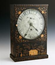 Unusual English Regency Japanned Shelf Clock, first quarter 19th century, the case decorated in the chinoisserie fashion with trees...