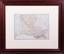 Map of Louisiana, early 20th c., from an Atlas of the World, framed, H.- 9 7/8 in., W.- 13 1/8 in.