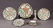 Group of Seven Pieces of Rose Medallion Porcelain, 19th c., consisting of a lobed tray, a circular tray, a circular plate, an octago...