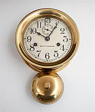 Seth Thomas Brass Ship's Clock, 20th c., with bell, running, H.- 10 3/4 in., Dia.- 7 in.