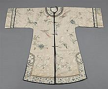 Chinese Embroidered Silk Robe, early 20th c., with bird, butterfly, and floral decoration, H.- 49 1/2 in., W.- 62 in., Shoulders- 24...