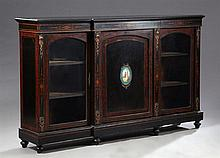 French Ormolu Mounted Ebonized Marquetry Inlaid Burled Walnut Parlor Cabinet, c.1870, the rectangular breakfront top over a central...