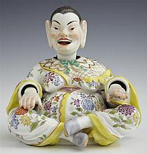 Meissen Porcelain Mandarin Nodder, 19th c., with moving hands, head and tongue, with gilt and polychromed decoration, the blue cross...