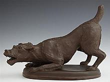 Meissen Bottger Steinzeug Earthenware Dog, 20th c., marked