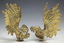 Pair of Brass Rooster Table Decorations, 20th c., H.- 9 1/2 in., W.- 5 in., D.- 7 1/2 in.