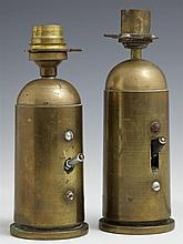 Pair of Brass Trench Art Lamps, c. 1918, constructed of mortar shells, H.- 7 in., Dia.- 2 3/8 in.