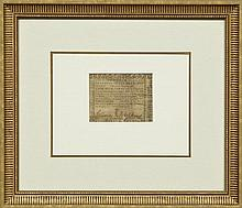 Treasury of Virginia $400 Note, October 16, 1780 Act, framed, H.- 2 3/4 in., W.- 3 5/8 in.