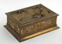 Tiffany Bronze and Slag Glass Grapevine Pattern Cigar Box, #825, the bottom stamped