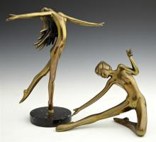 Two Art Deco Style Bronze Dancing Female Figures, late 20th c., one on a black marble base, Taller- H.- 11 1/2 in., W.- 9 3/4 in., D...