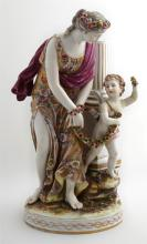 Large Capodimonte Porcelain Figure, 20th c., of Venus and Cupid, on an integral flower strewn base, H.- 14 3/4 in., W.- 7 1/4 in., D...
