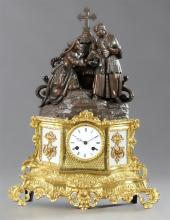 French Patinated Spelter Gilt Brass and Milk Glass Figural Mantel Clock, c. 1850, the surmount of a priest baptizing a child in an o...