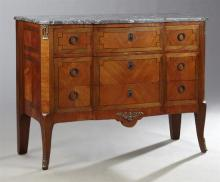 French Louis XVI Style Inlaid Mahogany Ormolu Mounted Marble Top Commode, 19th c., in the transitional taste, the breakfront canted...