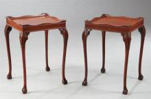 Pair of George III-Style Mahogany End Tables, each with a square top and raised shaped edge, above a conforming dentillated frieze,...