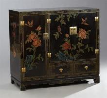 Contemporary Chinese Parcel Gilt Polychromed Black Lacquered Cabinet, late 20th c., the rectangular butterfly and floral painted top...