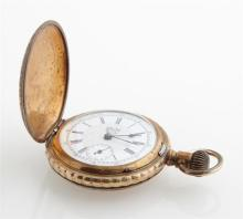 Tri-Color Gold Filled Waltham Hunting Case Pocket Watch, c. 1885, Ser #241029, running, with an engraved cover and a relief band wit...