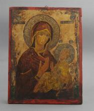 †Russian Icon of the Virgin and Child, 20th c., oil on panel, H.- 10 1/4 in., W.- 8 in.