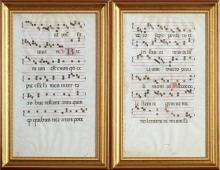 Pair of Hand Colored Parchment Hymnal Sheets, 17th c., presented in gilt frames with beaded liner, H.- 21 3/8 in., W.- 12 3/8 in.
