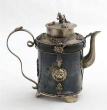 Chinese Dark Green Jade Silver Plated Teapot, the teapot with a silver plated lid surmounted by a mouse finial surrounded by three f...