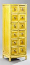 Chinese Ming Style Polychromed Twelve Drawer Apothecary Cabinet, 20th c., the square top over twelve drawers with incised characters...