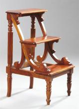 Regency-Style Mahogany Library/Bed Steps, fitted with three rungs, joined by shaped supports and a turned and ribbed back support, r...