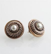Pair of David Yurman 14K Yellow Gold and Sterling Pierced Earrings, each with a mabe 7 mm white cultured pearl, with omega clasps, D...